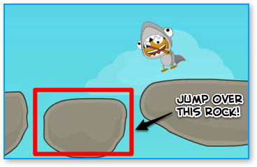 Jump over the second rock from the right on your way back.