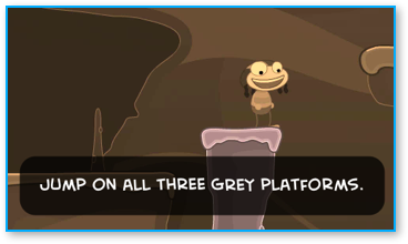 Jump on the grey platforms to trap the bad guys