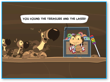 Found the treasure and the color laser!