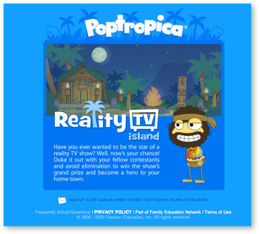 Post image for Poptropica Reality TV Island