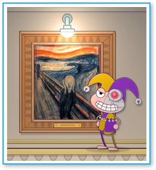 Binary Bard standing in front of a painting