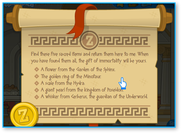 List of tasks from Zeus in Poptropica Mythology Island