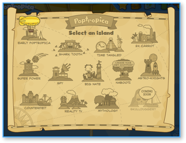 Poptropica Map with Skullduggery Island