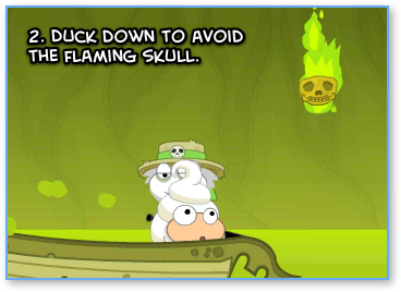 Poptropica River Styx flaming skulls