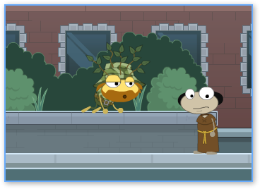 Poptropica Guy in bushes on Spy Island