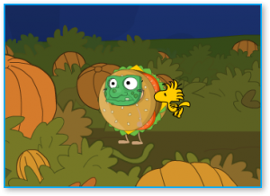 Poptropica Members who complete Great Pumpkin Island get a special Woodstock follower as a prize.