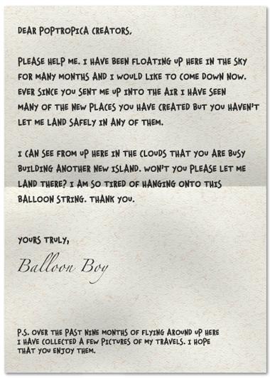Poptropica Balloon Boy Letter