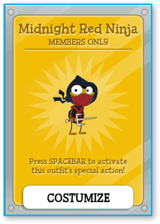 Poptropica Midnight Red Ninja Costume