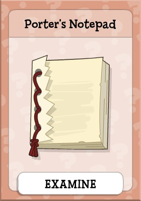 Porter's Notepad in Mystery Train Island