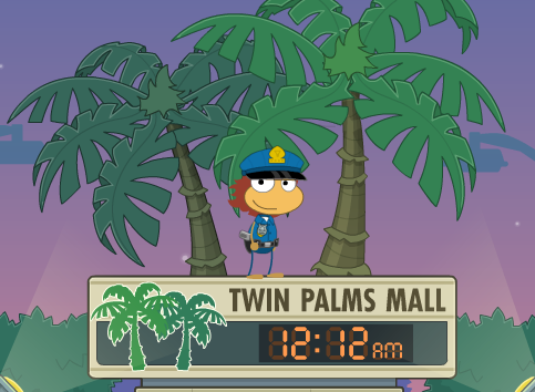 Night Watch Island...do you have what it takes to guard the Twin Palms Mall in the wee hours?